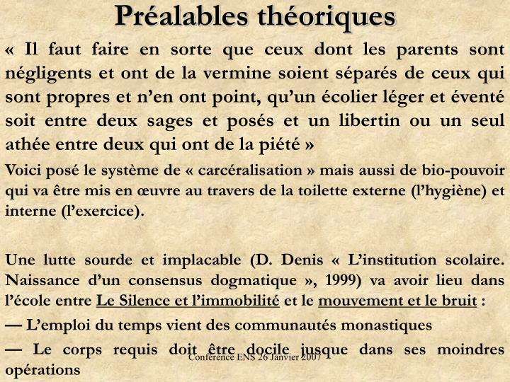 Pralables thoriques