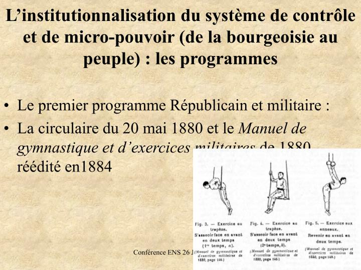L'institutionnalisation du système de contrôle et de micro-pouvoir (de la bourgeoisie au peuple): les programmes