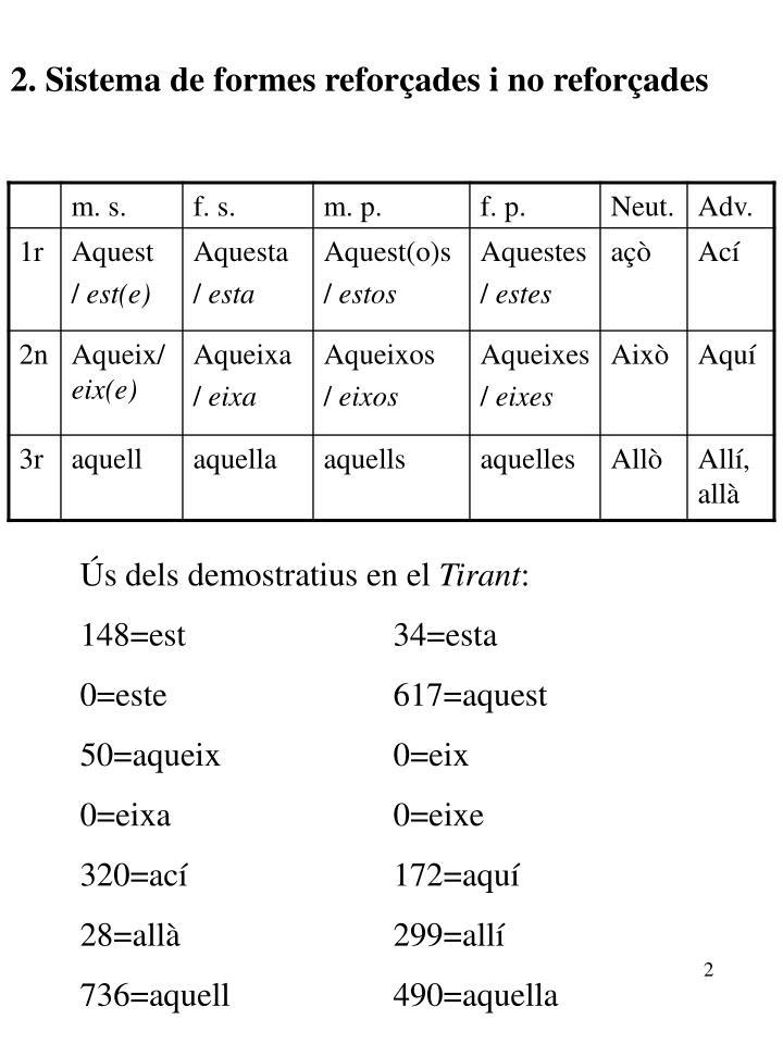 2. Sistema de formes reforçades i no reforçades