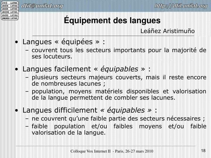 Équipement des langues