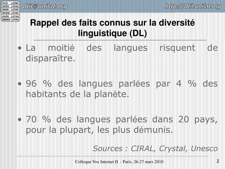 Rappel des faits connus sur la diversité linguistique (DL)