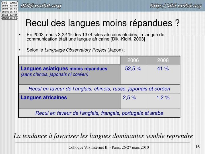 Recul des langues moins répandues?