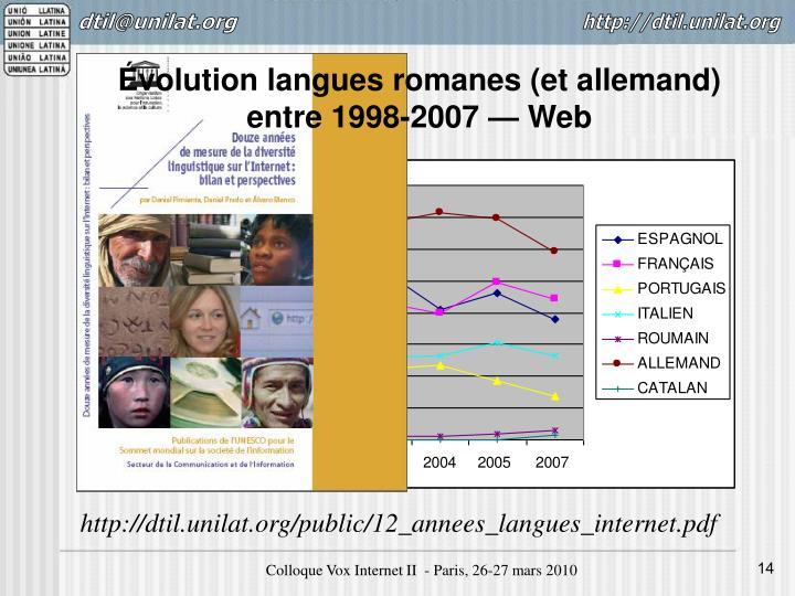 Évolution langues romanes (et allemand)