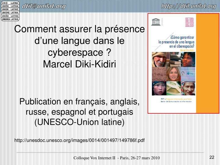 Comment assurer la présence d'une langue dans le cyberespace?