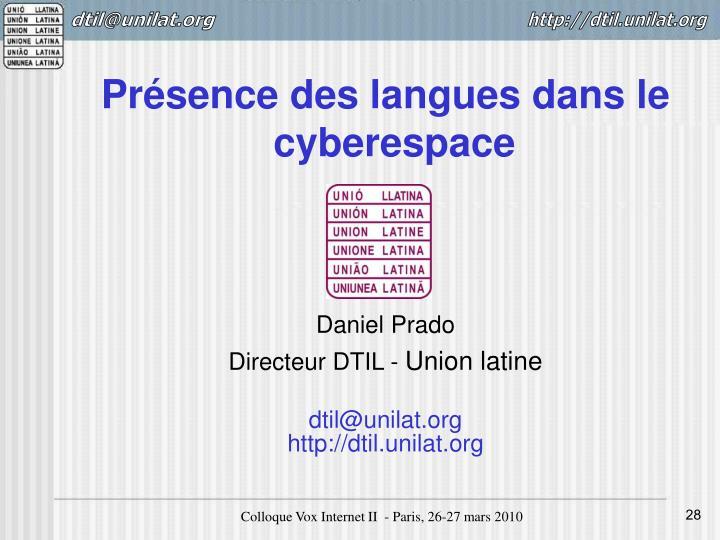 Présence des langues dans le cyberespace