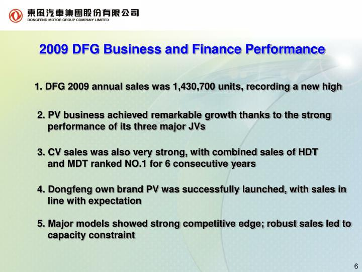 2009 DFG Business and Finance Performance