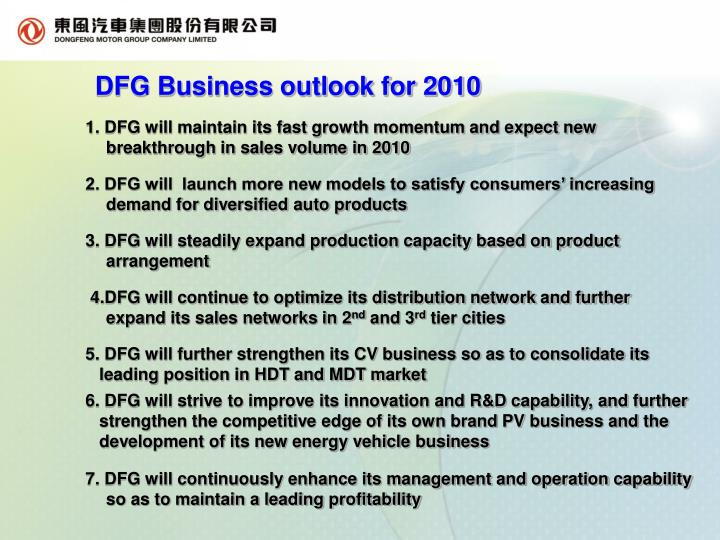 DFG Business outlook for 2010
