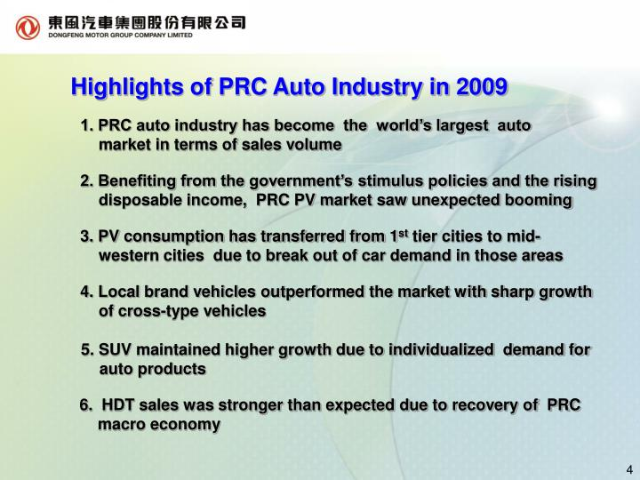 Highlights of PRC Auto Industry in 2009