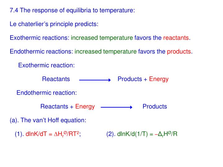 7.4 The response of equilibria to temperature: