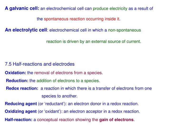 A galvanic cell:
