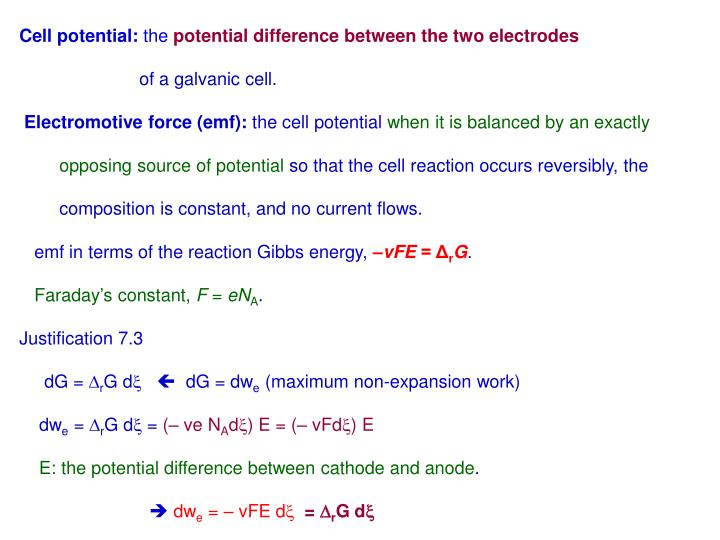 Cell potential: