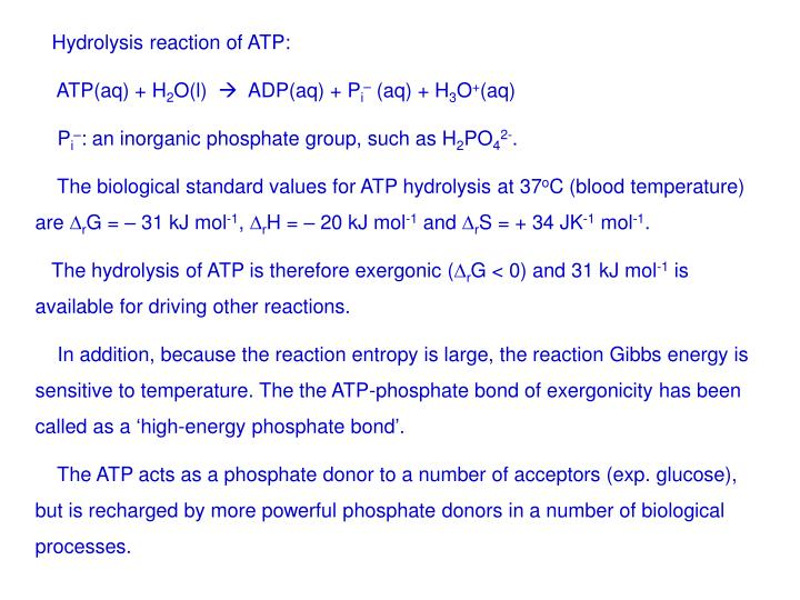 Hydrolysis reaction of ATP: