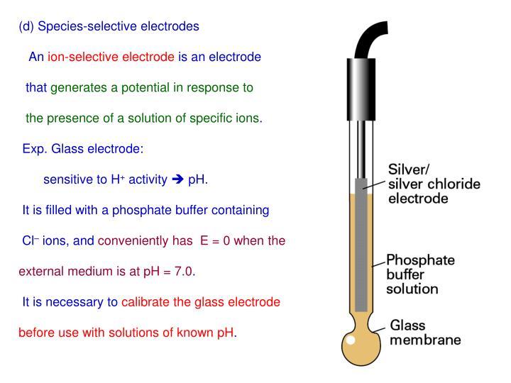 (d) Species-selective electrodes
