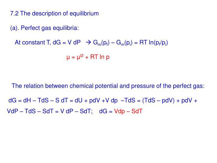 7.2 The description of equilibrium