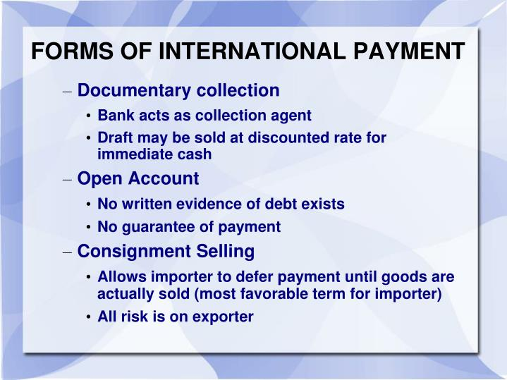 FORMS OF INTERNATIONAL PAYMENT