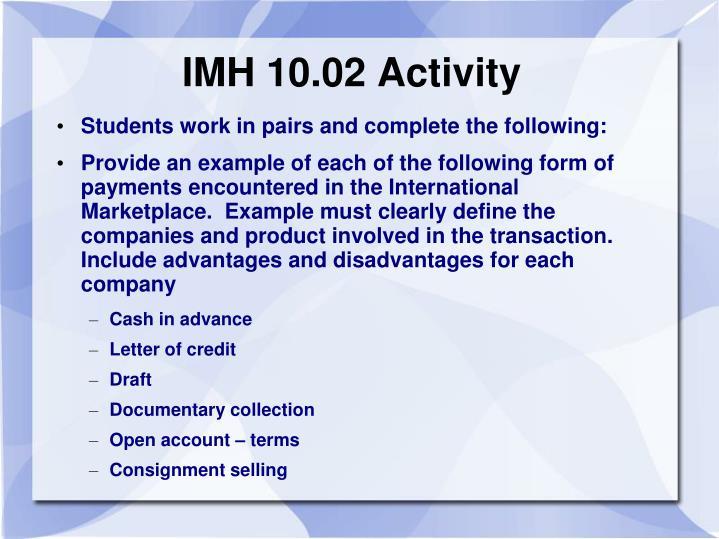 IMH 10.02 Activity