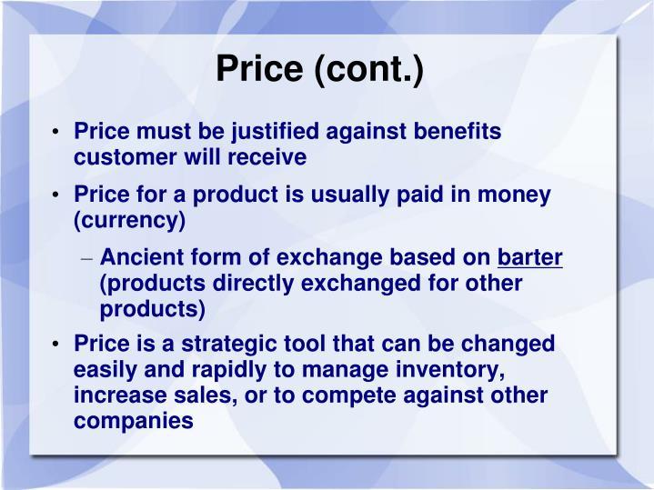Price (cont.)