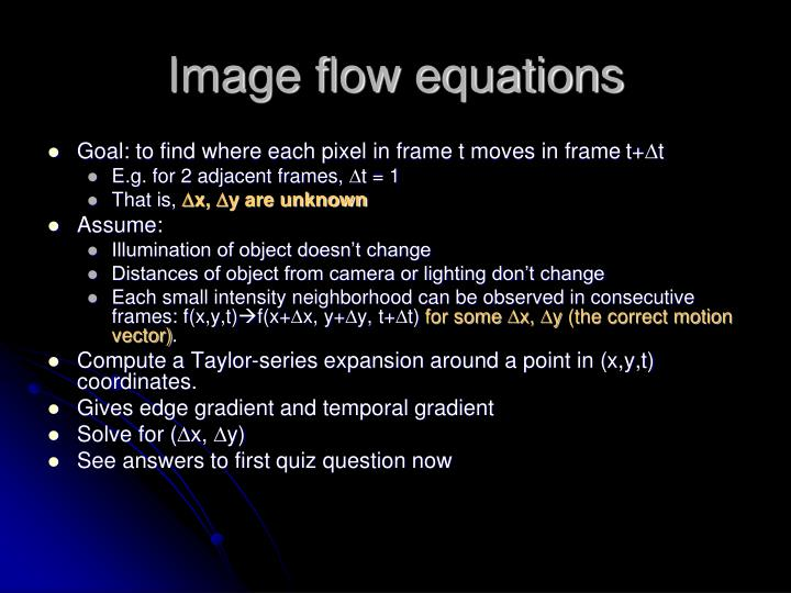 Image flow equations
