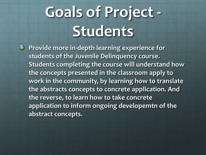 Goals of Project - Students