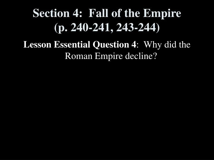 Section 4:  Fall of the Empire