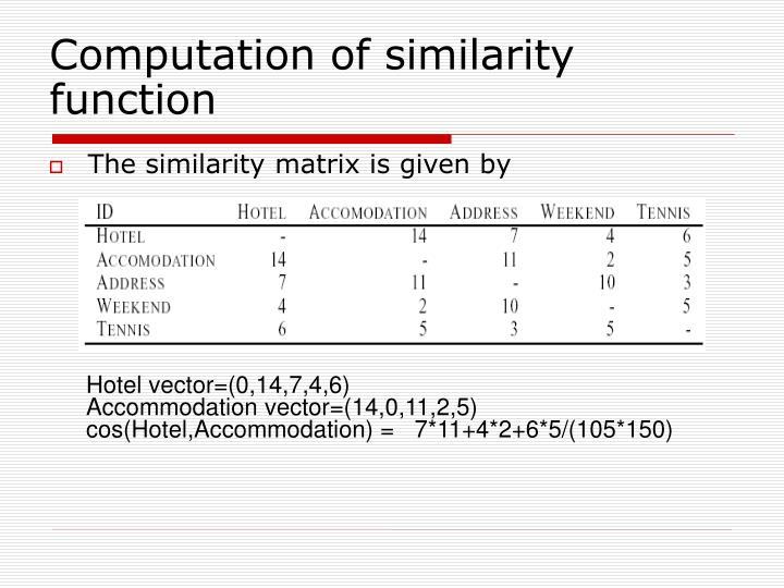 Computation of similarity function
