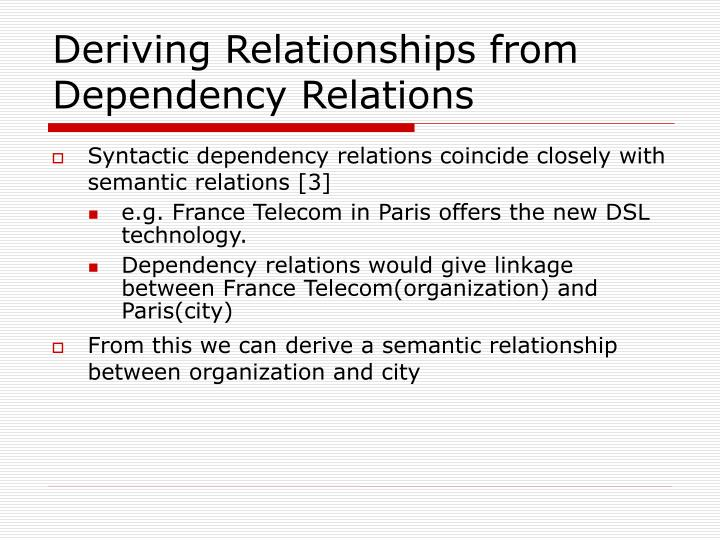 Deriving Relationships from Dependency Relations