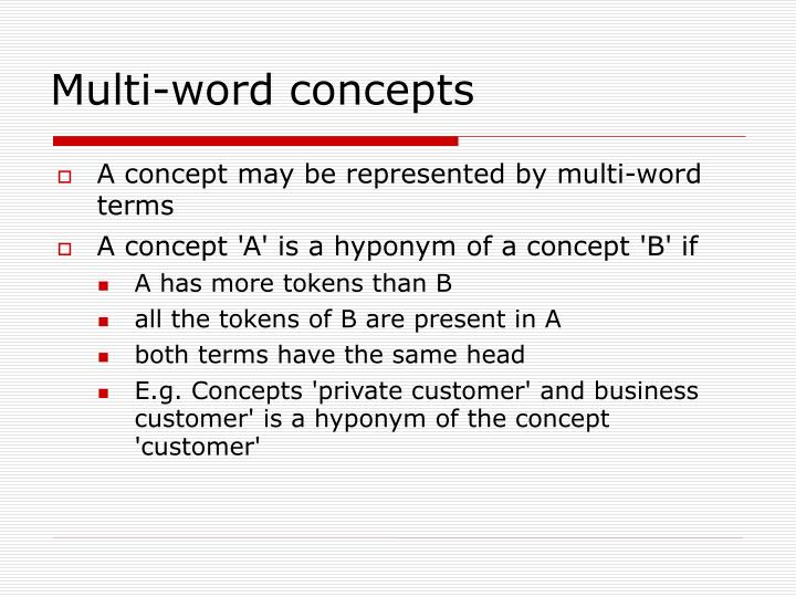 Multi-word concepts
