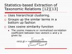 statistics based extraction of taxonomic relations 12 13