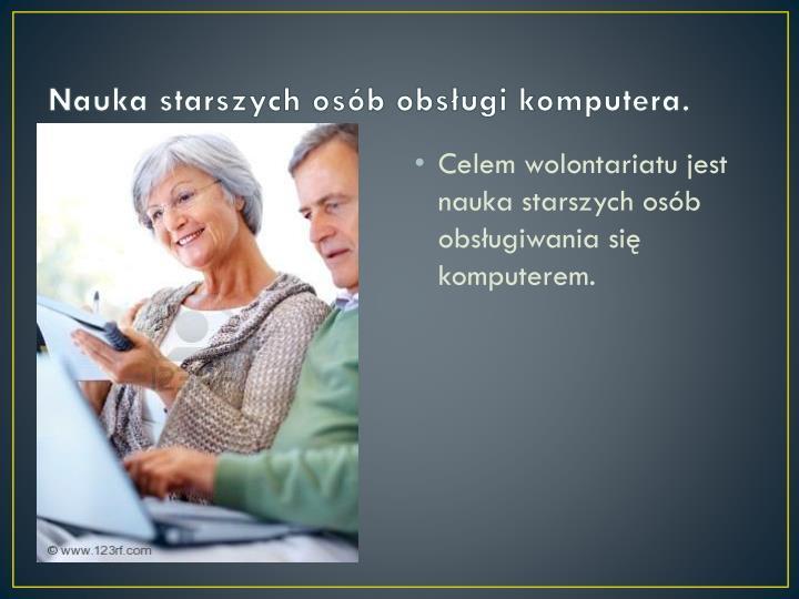 Nauka starszych osób obsługi komputera