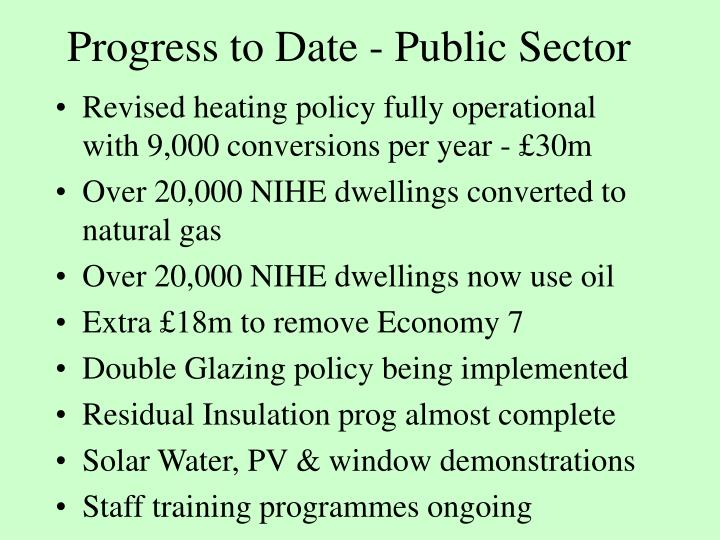 Progress to Date - Public Sector