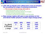 summary of physics opportunities