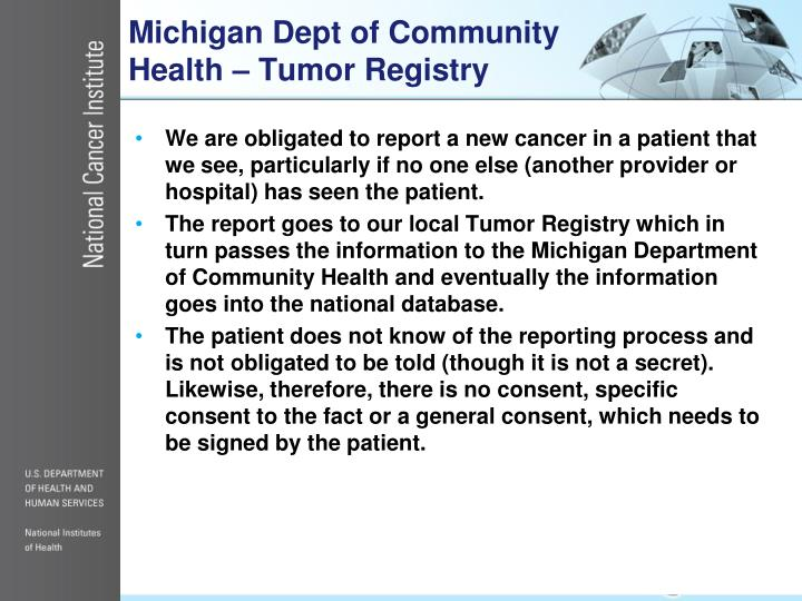 Michigan Dept of Community Health – Tumor Registry