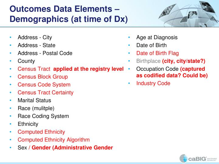Outcomes Data Elements – Demographics (at time of Dx)