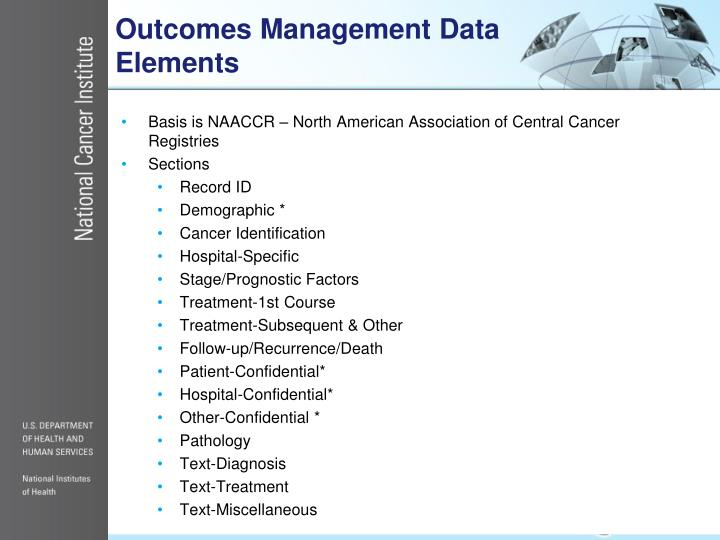 Outcomes Management Data Elements