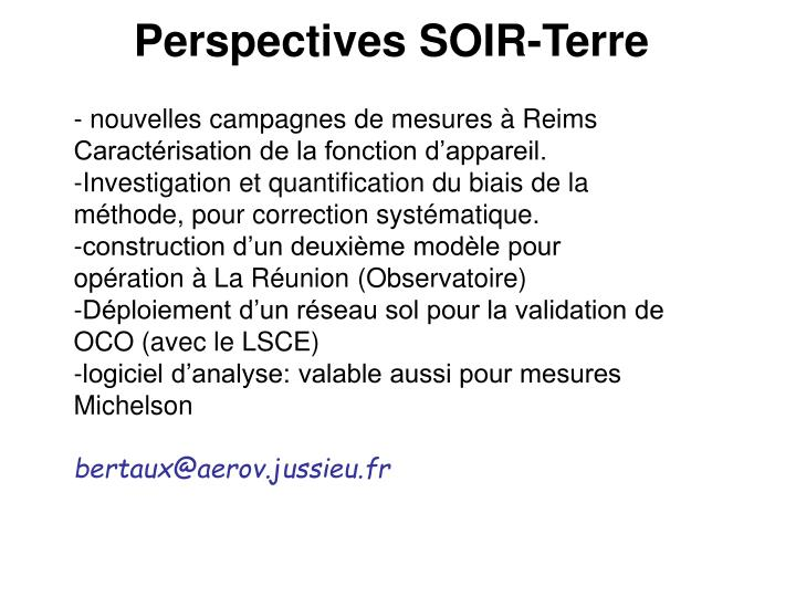 Perspectives SOIR-Terre