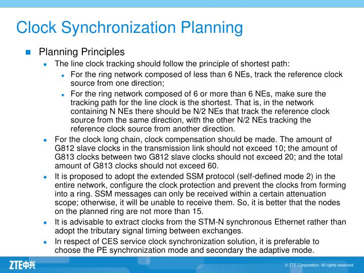 Clock Synchronization Planning