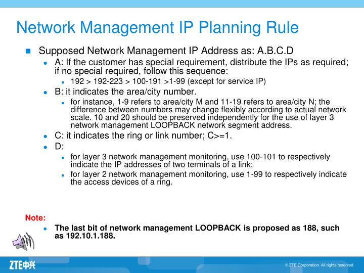 Network Management IP Planning Rule