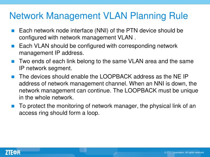 Network Management VLAN Planning Rule