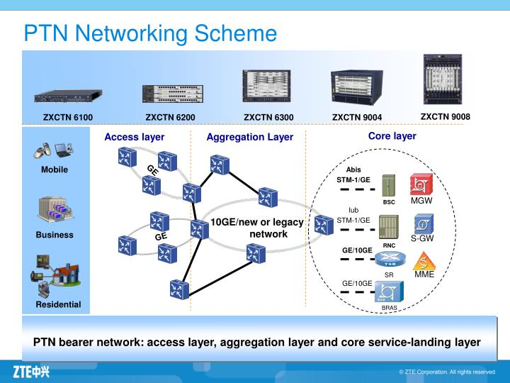 Ptn networking scheme