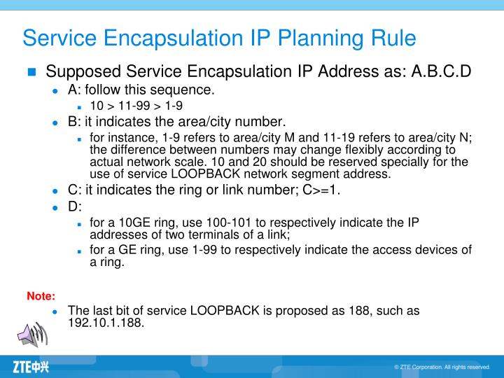 Service Encapsulation IP Planning Rule