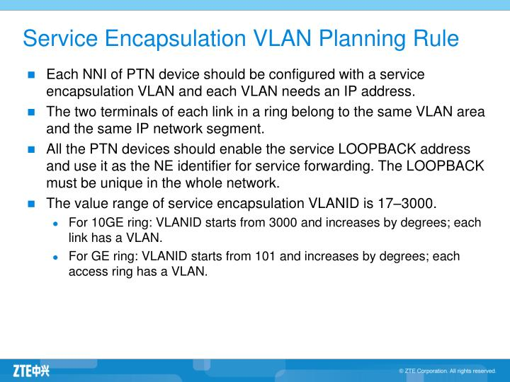 Service Encapsulation VLAN Planning Rule