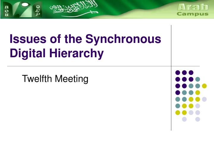 Issues of the synchronous digital hierarchy