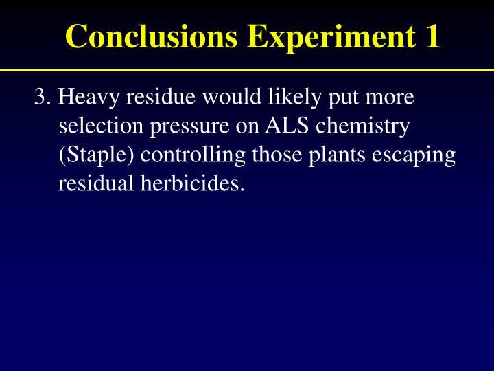 Conclusions Experiment 1