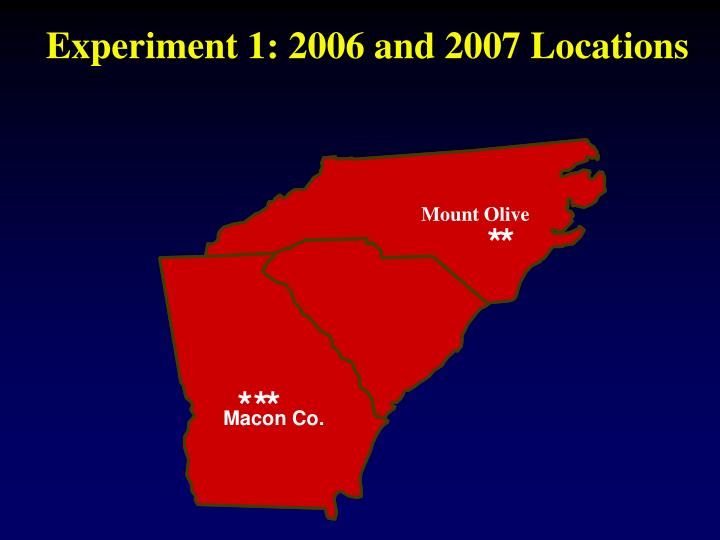 Experiment 1: 2006 and 2007 Locations
