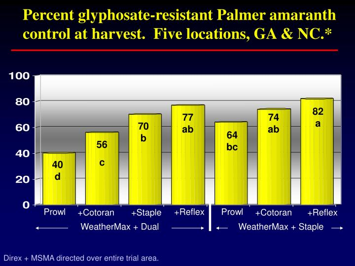 Percent glyphosate-resistant Palmer amaranth control at harvest.  Five locations, GA & NC.*