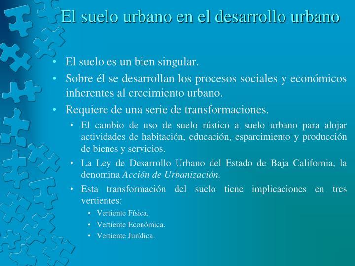 El suelo urbano en el desarrollo urbano