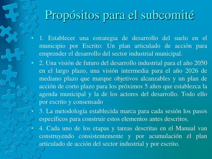 Propósitos para el subcomité