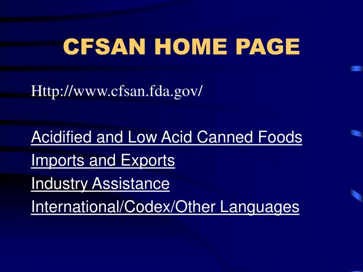 CFSAN HOME PAGE