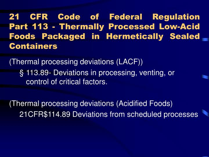 21 CFR Code of Federal Regulation