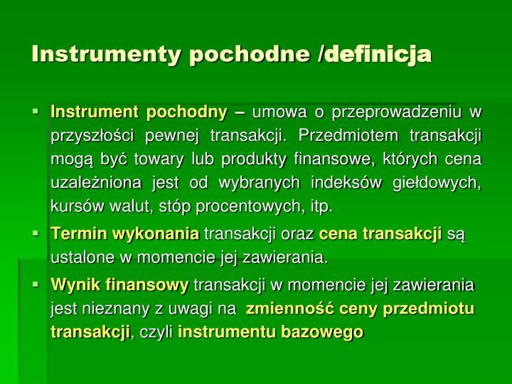 Instrumenty pochodne /